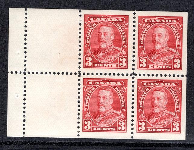 "Scott 219a, 3c, ""Scroll"" booklet pane of 4 x 3c + 2 labels, MNHOG, VF, Canada P"