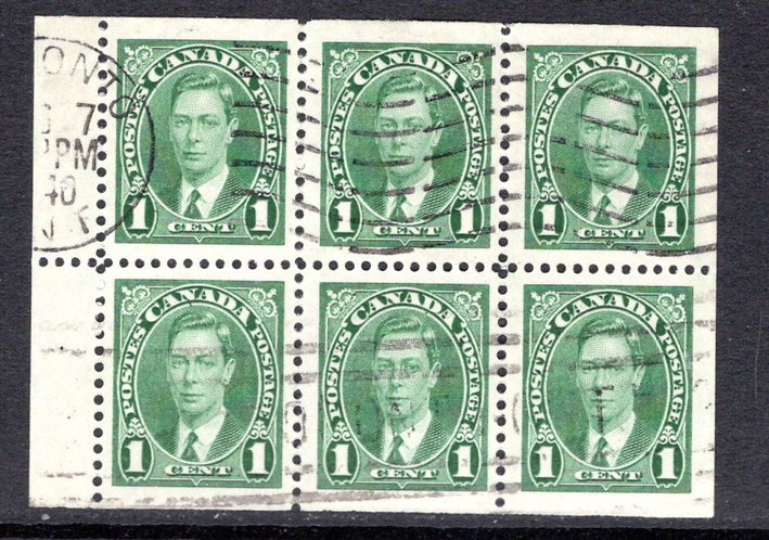 "Scott 231b, 1c, ""Mufti issue"" booklet pane of 6 x 1c, USED, VF"