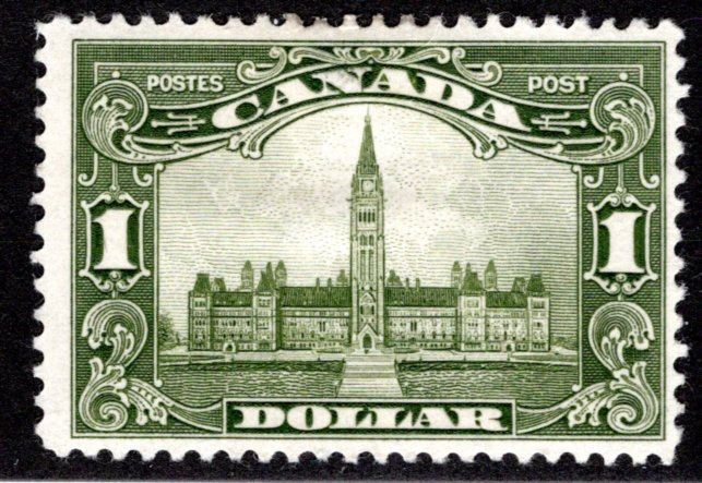 "159 Canada, $1 KGV ""Scroll"" Issue, MHOG, F, Postage Stamp"