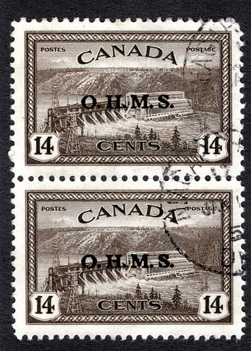 """O7, 14c hydroelectric plant, overprinted """"O.H.M.S."""", Used, VF, vertical pair"""