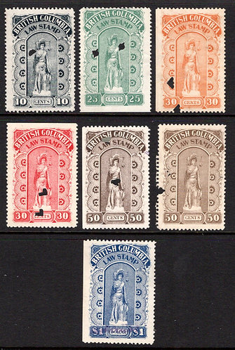 van Dam BCL16-21, incl BCL20a, Full Used Set, 1905-12, Fourth Series, BC Law