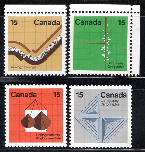 582-585, Scott, Canada, Earth Sciences Set, MNHOG, postage stamps