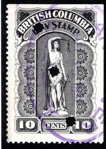 van Dam BCL28, 10c, F/VF, British Columbia Law Stamp, SixthSeries