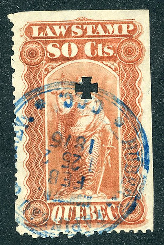 van Dam QL22 - 80c red - Used - Quebec Law Stamp 1871-1890