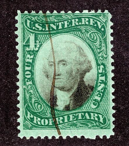 Scott RB4b, 4c green & black, Green Paper, Proprietary, Used