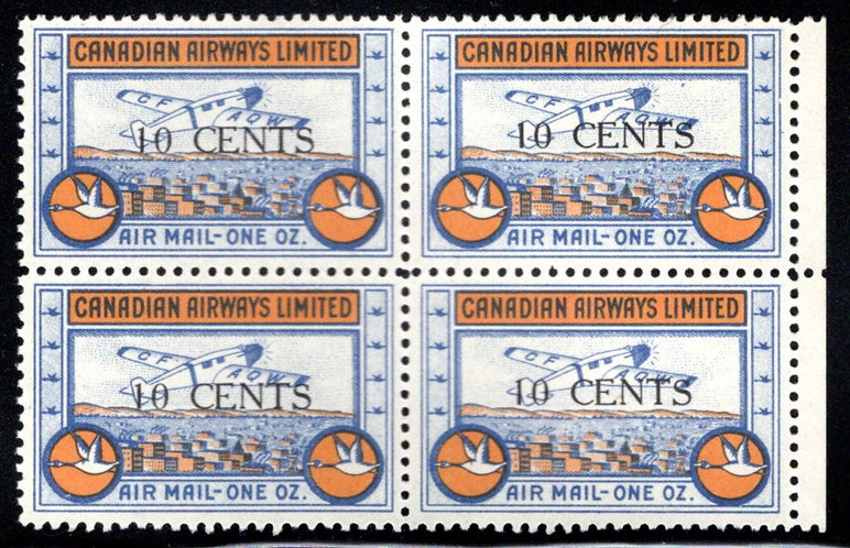 CL52, Canada, 10c surcharged, Canadian Airways Ltd., MNHOG, block of 4