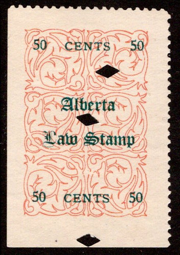 van Dam AL13L -50c red (green), used,F, Alberta Law