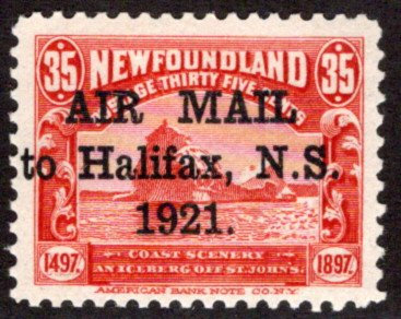 """AM4d, NSSC, Newfoundland, 35c, """"Stop after 1921"""" variety, AIR MAIL to Halifax"""