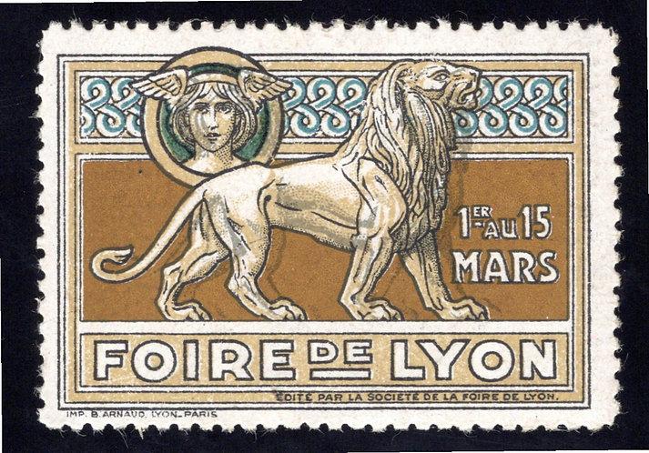 France FOIRE DE LYON – FAIR vintage LION Exhibition poster stamp MNHOG