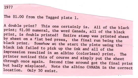 Albino Printing on 726 Fundy Stamp