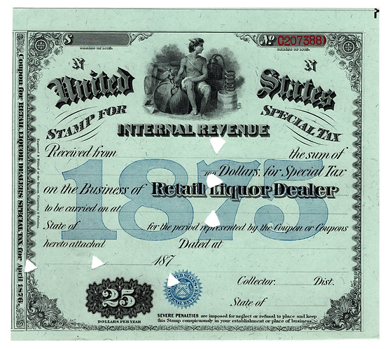 Special Tax Stamp, $25, USIR, 1875, Retail Liquor Dealer