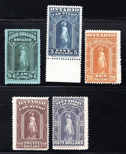 van Dam OL61-65 Set, Canada, Ontario, MNHOG (except OL65 - MLHOG), Law Stamps