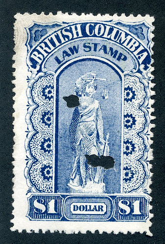 van Dam BCL15a - Used - British Columbia Law Stamp - $1 - Third Series - Pinperf