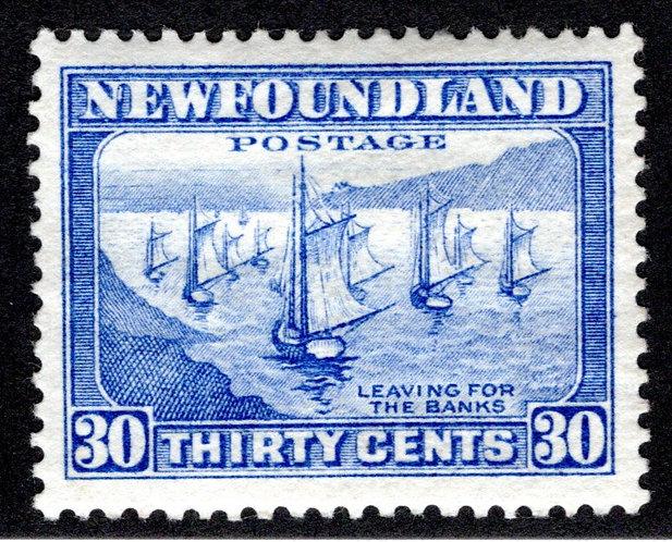 192, NSSC, Newfoundland, 30c ultramarine, Fishing Fleet,MLHOG, Pictorial Issue