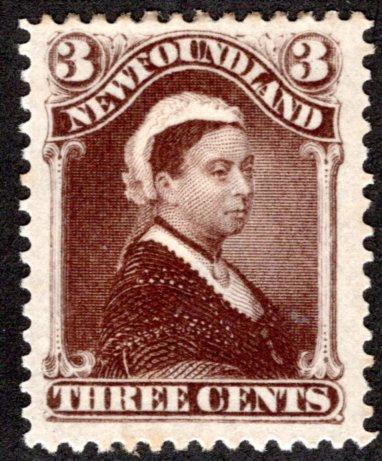 46, NSSC, 1887, Newfoundland, 3c, umber brown, Queen Elizabeth, MHOG, F, Postag