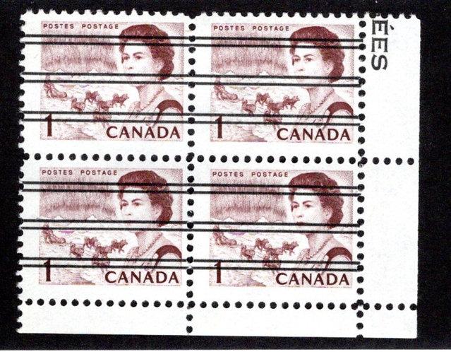 454xxi Scott, 1c brown, LR Block of 4, MNH, F/VF, Centennial Definitives, Canada