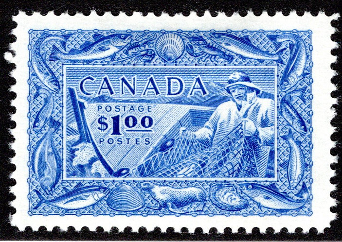 302, MHOG, VF, Fisherman, Fishing Resources, Canada Postage Stamp
