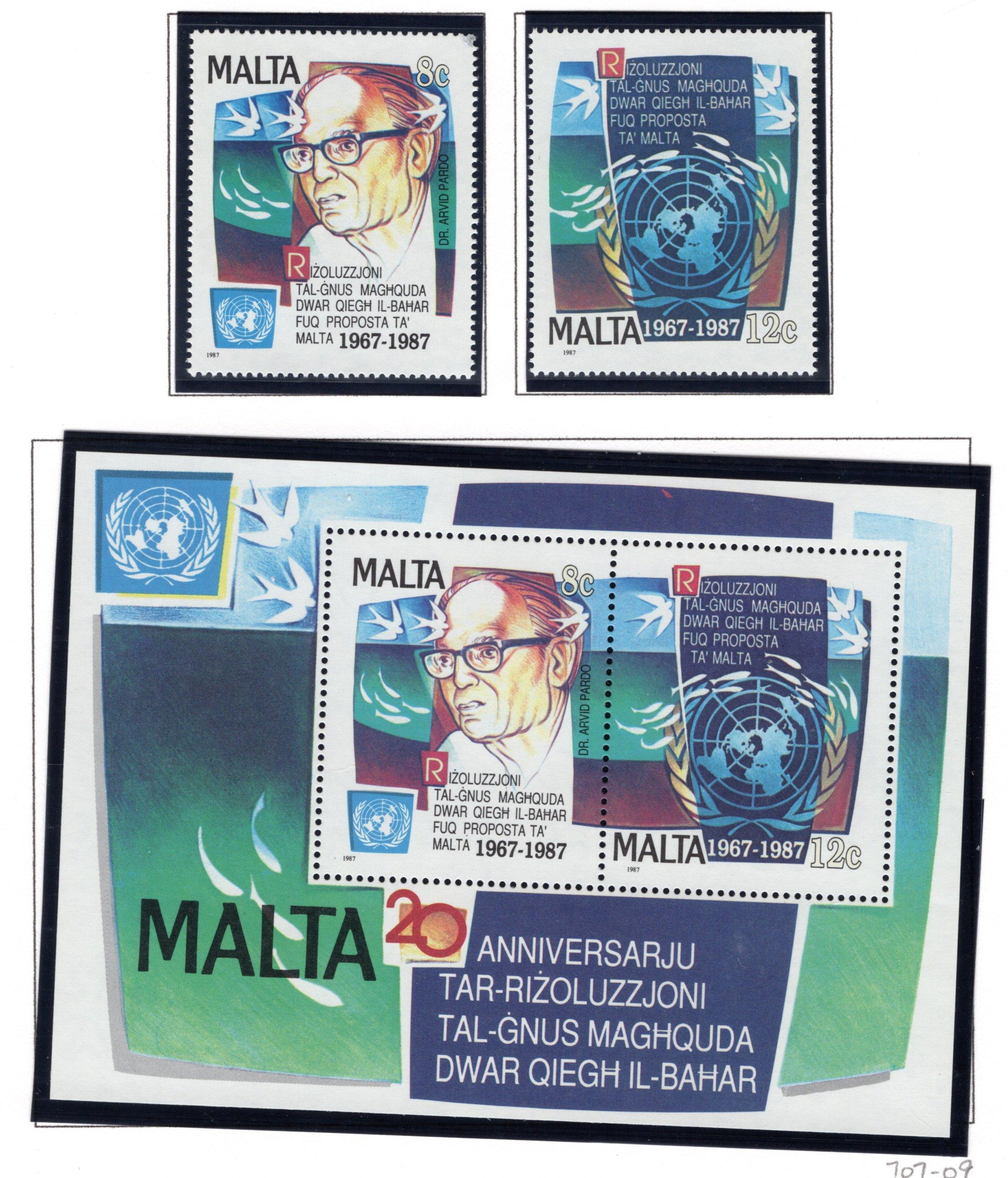 707-709a Malta, United Nations Stamp Set with Souvenir Sheet, 1987, MNHOG