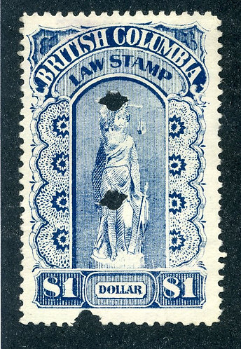 van Dam BCL15 British Columbia Law Stamp - $1 - Third Series - 1893-1901