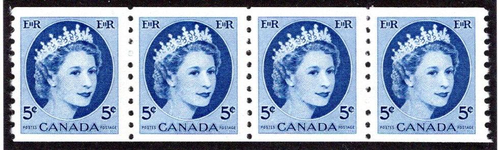 348coil, Strip of 4, 5c QEII Wilding, VF,MNHOG, Canada
