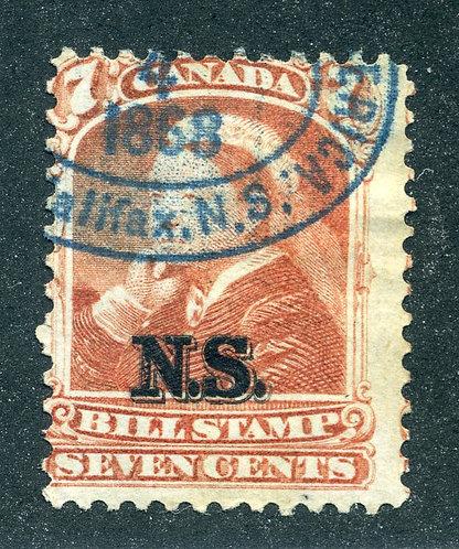 van Dam NSB8 - Nova Scotia Bill Stamp - 7c - Used - CARIS ID: CAB60 - hinge