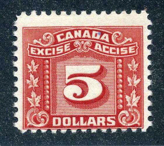 van Dam FX90 - $5 Red - Mint NH - Three Leaf Excise
