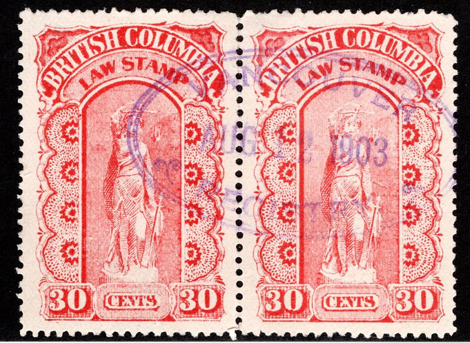 BCL13, 30c, rose, used, hotizontal pair, four perfs separated, British Columbia