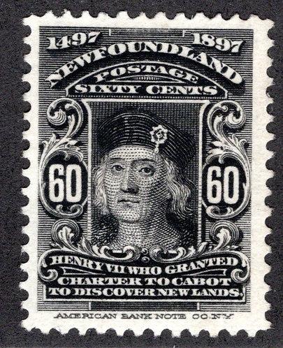65, NSSC,Newfoundland, 60c black, King Henry VII,MLHOG, 1897, Scott 74