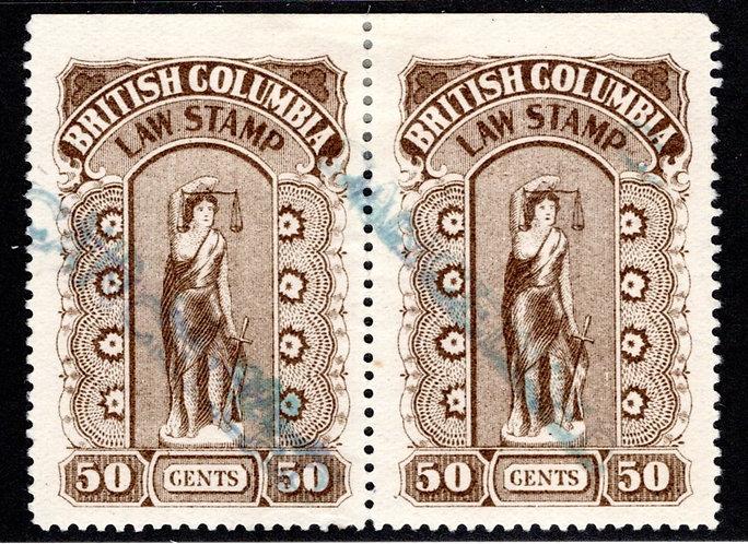 "van Dam BCL25 - 50c, ""."" between Law & Stamp Variety (left stamp)-British Col"