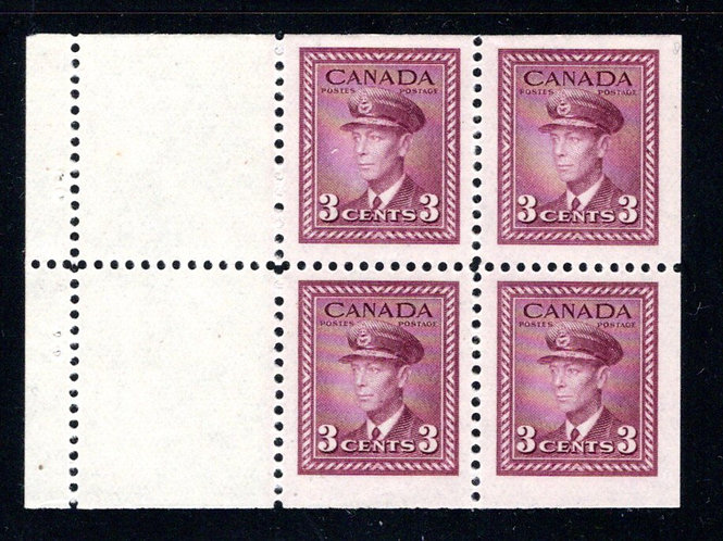 "252a, Canada, Scott, 3c ,VF, MNH, ""War"" issue, booklet pane of 4 x 3c + 2 labels"