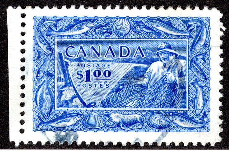 302 Scott - $1 Used, Fisherman, VF, (F is $15), Canada Postage Stamp