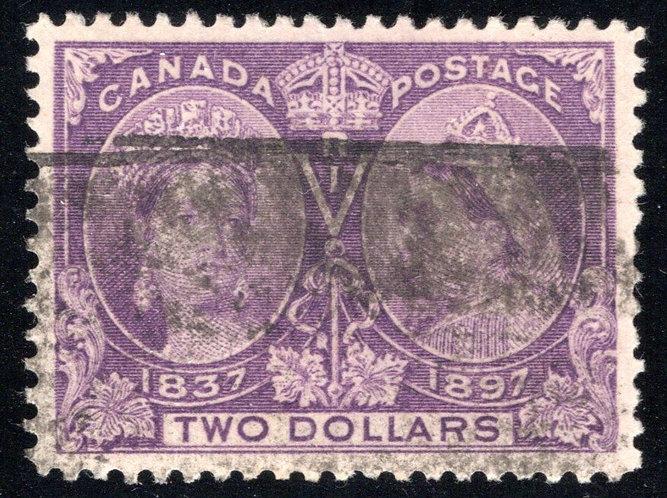 62 Scott, Canada, $2 purple, VF/XF-89, Used, Diamond Jubilee Issue