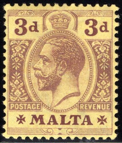 54 Malta, 3p, vio yel, MH, 1914-21, EF