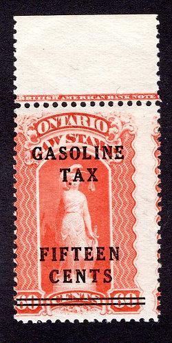 "van Dam OGT6 - Ontario Gasoline Tax - 15¢ on 60¢ Red -MNHOG - Blue ""C"""