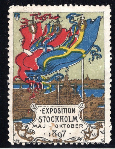 Stockholm Exposition, May-Oct 1897, Cinderella Stamp, Used