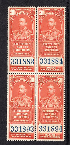 van Dam FEG7, $10, vermillion, MNHOG, block of 4, 1930, George V, Electricity a