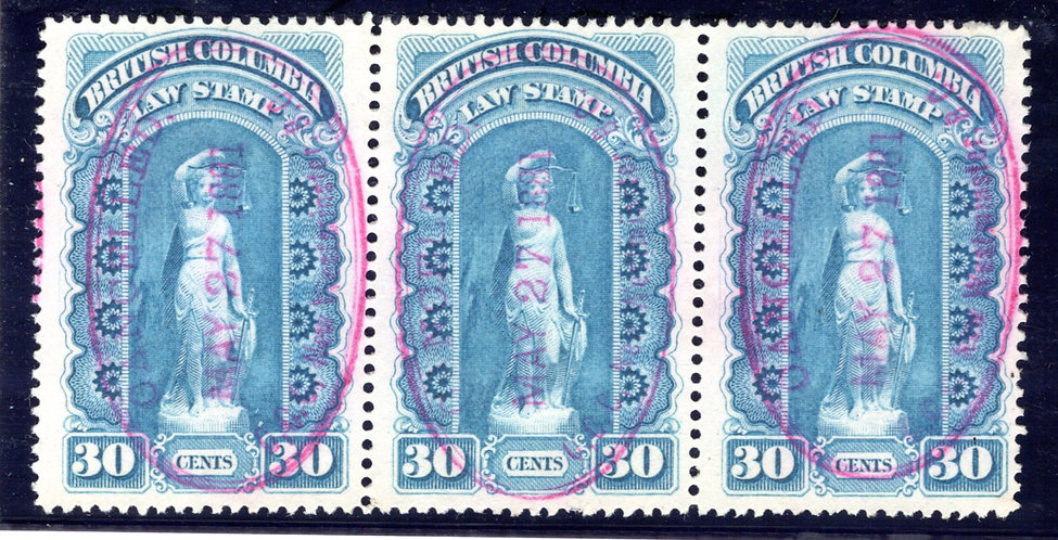 BCL2, 10c, used, F/VF, strip of 3, SOTN Cancels, British Columbia Law Revenue St