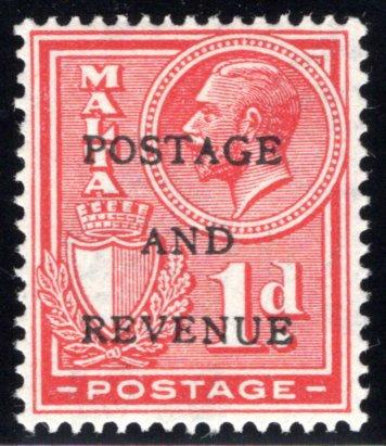 "150 Malta, MLHOG, 1p, 1928, Stamp of 1926-1927 O/P""POSTAGE AND REVENUE"""