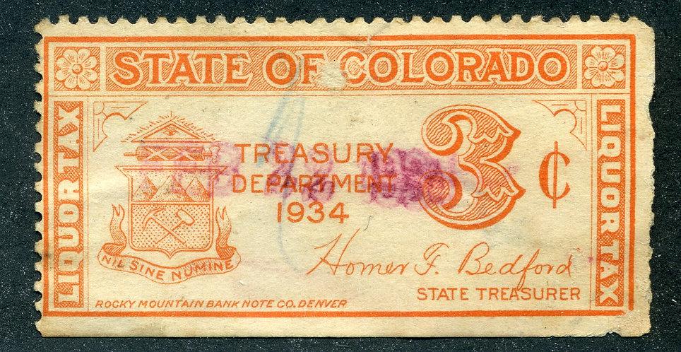 SRS CO WL4- 3c- Colorado- Orange- Used -F - perf tear