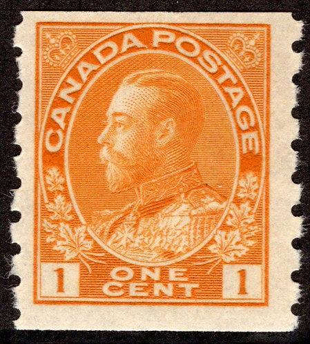 "126 Scott - 1c orange yellow ,F, MNHOG, 1915-24, ""King George Admiral"", Coil,Ca"