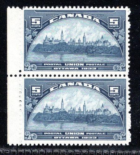 202 Scott, 5c dark blue, MNHOG, UPU Meeting, VF, Vert. Pair, Canada Postage Stam