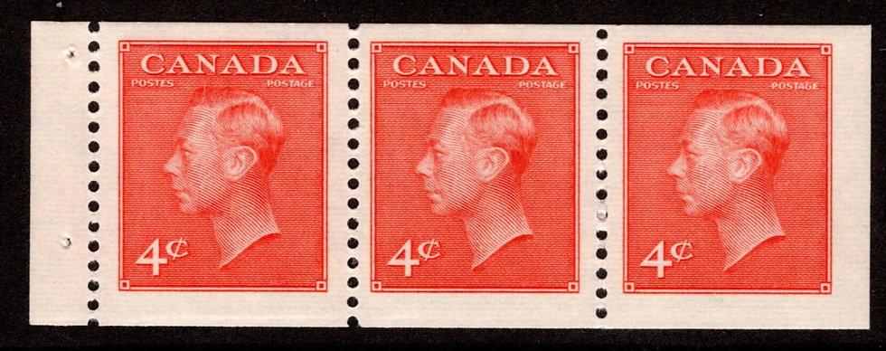 "306a, Scott, booklet pane of 3x 4c (BK44), MNHOG, VF, KGVI with ""postes/postage"