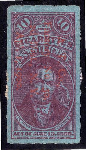 Series1898, 10 Cigarettes, Red/Orange O/P, Roulette, US Revenue