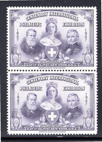 1947 New York Philatelic Exhibition MNHOG, 100th Anniversary, vertical pair