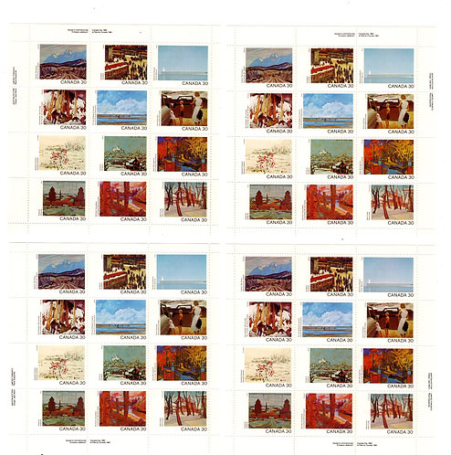 966a Scott - 1982 Canada Day, All 4 Matched Philatelic Panes of 12 stamps