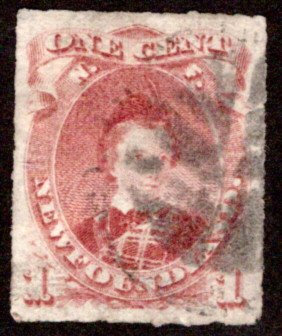 33b, NSSC, Newfoundland, 1¢ Prince of Wales, rouletted, Used, VF, Scott 37