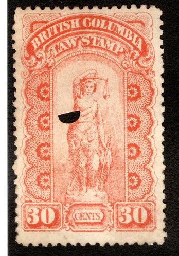 van Dam BCL6 - 30c vermillion, Used,British Columbia Law Stamp,1888-91, Seond S