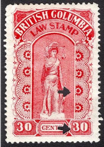 van Dam BCL19 British Columbia Law Stamp - 30c- F/VF, Fourth Series - 1905-12