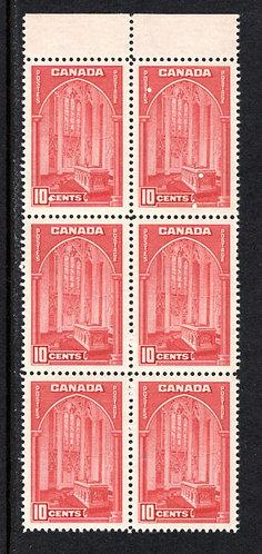 241 Scott, Canada, 10c MNHOG, VF, Block of 6,1938 Pictorial, Memorial Chamber