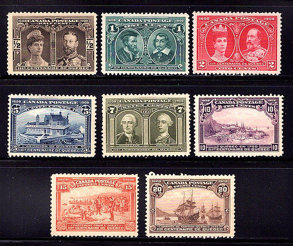 Scott 96-103, Quebec Tercentenary Issue, Complete Set, MLH-MH, F/VF, Canada